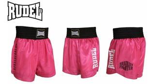 Short Muay Thai Rudel Cetim Serie Ii Rosa Profissional Luta