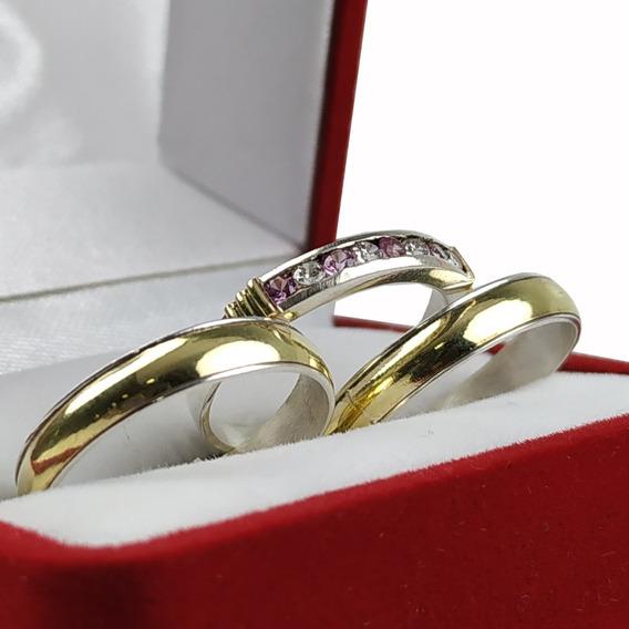 Alianzas Plata Y Oro Con Anillo Compromiso Casamiento Combo