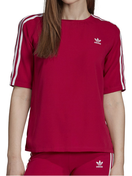 Remera adidas Originals Moda 3 Stripes Tee Mujer Fu/bl