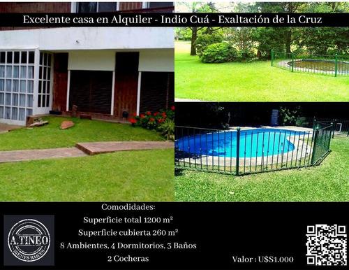 Imagen 1 de 8 de Excelente Casa En Alquiler - Indio Cúa - Exaltación De La Cruz
