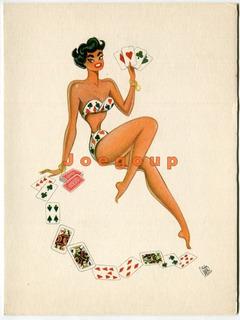Lote 8 Tarjetas Ilustradas Firma Divito Mujeres Pin Up