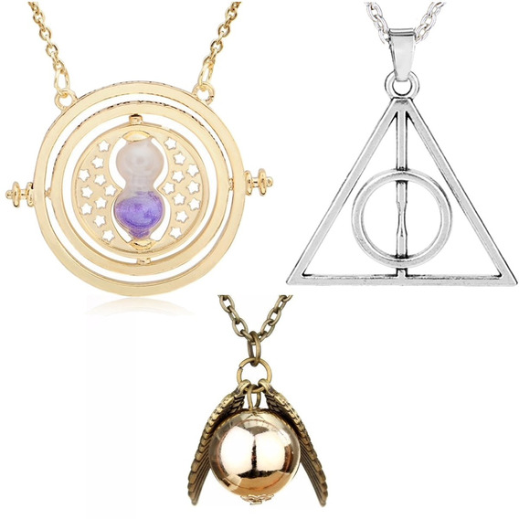 Kit Colar Pomo De Ouro + Vira Tempo Hermione + Harry Potter