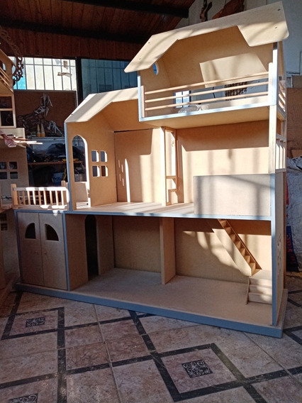 Casa De Muñecas Para Barbie En Mdf Mansion O Cabaña.
