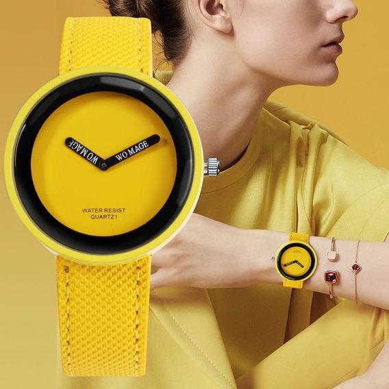 Relógio Feminino Amarelo Barato Bonito Elegante