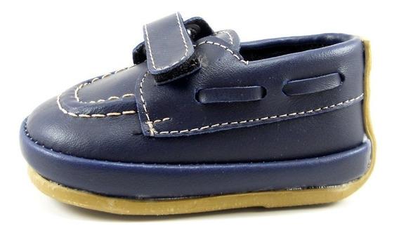 Mocasín Zapato Bebe Bautismo Con Velcro Azul Chocolate