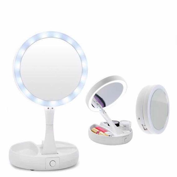 Espejo Con Luz Led Para Maquillaje Plegable Con Aumento