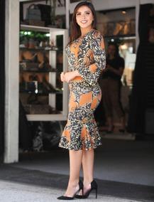 Vestido Princesa Tubinho Moda Evangélica Longuete Manga Sino