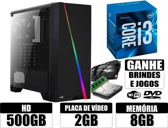 Cpu Gamer Core I3 8gb 500gb Placa De Video 2gb Wifi + Brinde