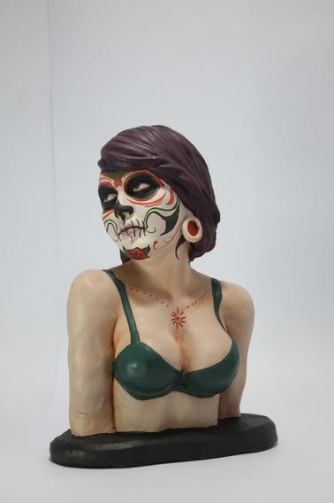 Busto Caveira Mexicana Estatua De Rlucenas 26 Cm