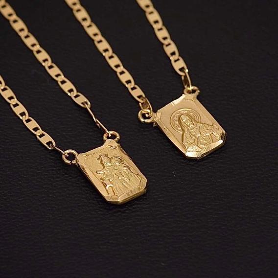 Escapulário De Ouro 18k Sagrado Coração N. Senhora Do Carmo