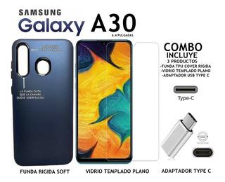 Funda Rigida + Templado + Adaptador C Samsung A30 Rosario