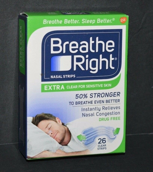 Tiras Nasales Breathe Right Ext Fuerza Clear Dejar Roncar 26