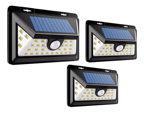 Pack 3 Foco Solar 30 Led Exterior 6w Sensor Movimiento