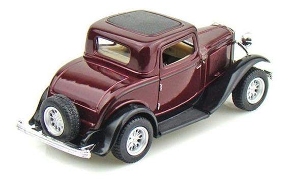 Clássico 1932 Ford 3 Window Coupe Kinsmart Escala 1/34 Bordô