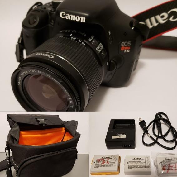 Câmera Canon T3i + Lente Canon 18-55mm + Bag Amazon + 03 Baterias + Carregador - Pouquíssimo Uso!