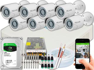 Kit Cftv 08 Câmeras Full Hd 1080p 2mp Hilook Dvr-116g-f1 1tb