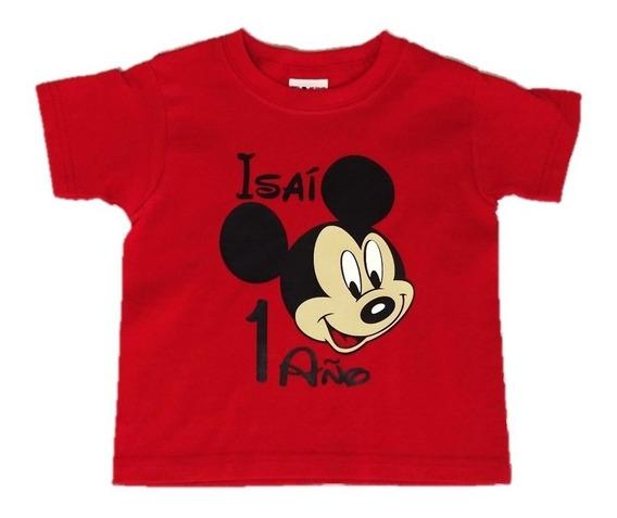 Playera Mickey Mouse Mimí Personalizadas Niños Mamá Papá
