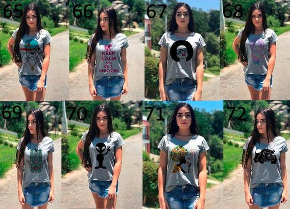 Roupas Camisetas Cinza Feminina Kit Atacado Revenda 9 Peças