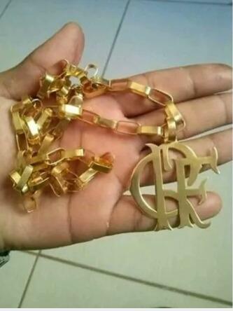Cordão De Prata Com Banho De Ouro 24k, Flamengo