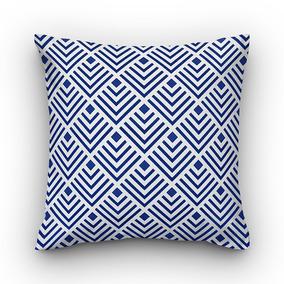 affccfa0c9f859 Capa De Almofada Vivain Veludo Geométrico Branco Com Azul