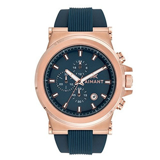 Aimant Mens Monaco Rose Gold With Blue Silicone Strap Watch