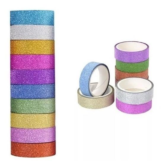 10 Fita Adesiva Durex Decorado Gliter - Washi Tape - Lindas