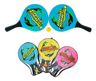 Set Raquetas De Playa 2 Raquetas 2 Pelotas Wave Runner