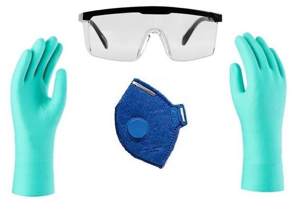 Kit De Proteção Quimica Oculos, Luva Nitrilica E Mascara