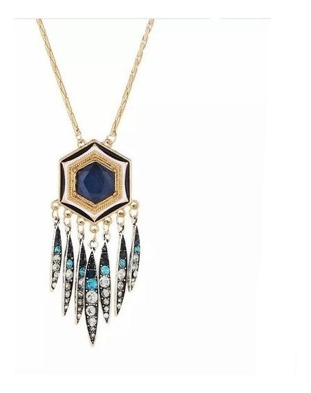 Collar De Hexágono Dorado Y Cristal Semi Preciosa Maxi Boho