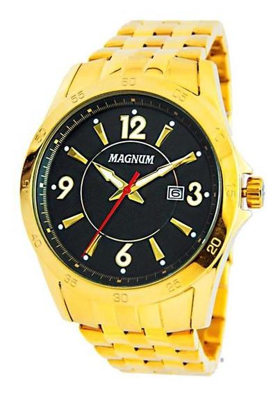Relógio Magnum Masculino Dourado Com Caixa Preta - Ma33040u