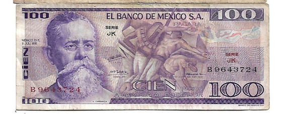 Billete De 100 Pesos Mexicanos De 1977 Serie Jk