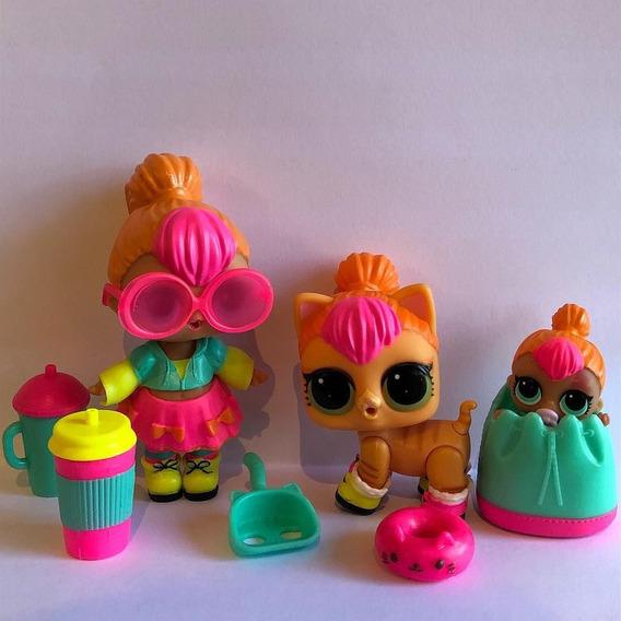 Boneca Lil Lol E Pet Neon Qt Brinquedo Menina Aberta