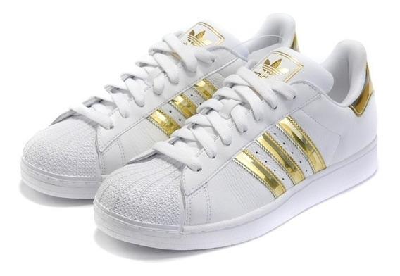 Zapatillas adidas Superstar Dama Bco Dorado Cuero Tenelo Ya!