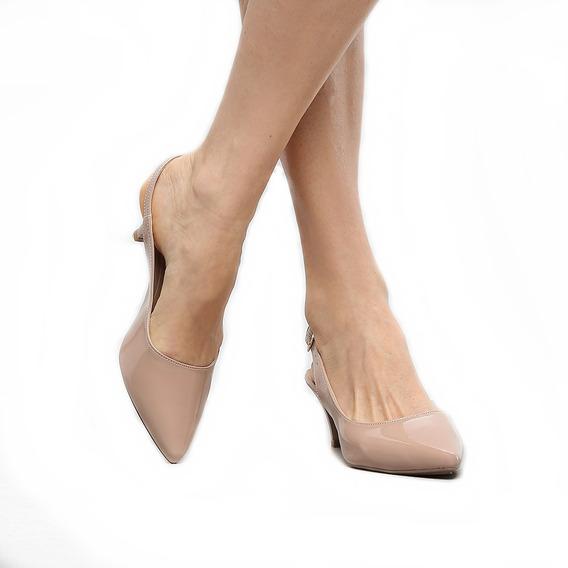 Sapato Scarpin Aberto Salto Médio Bico Fino Social Vegano