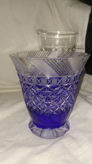 Vaso Cristal Azul Da Bohemia Anos 30 Decoração Vintage Amor