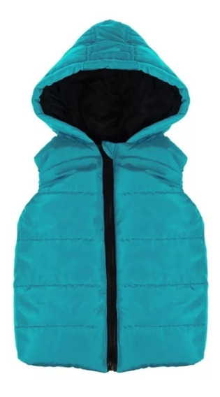 Jaqueta Colete Infantil Inverno Em Nylon Com Capuz