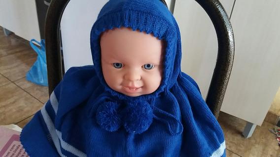 Poncho Touca Com Capuz Infantil Lã Trico Na Maquina 2 Anos