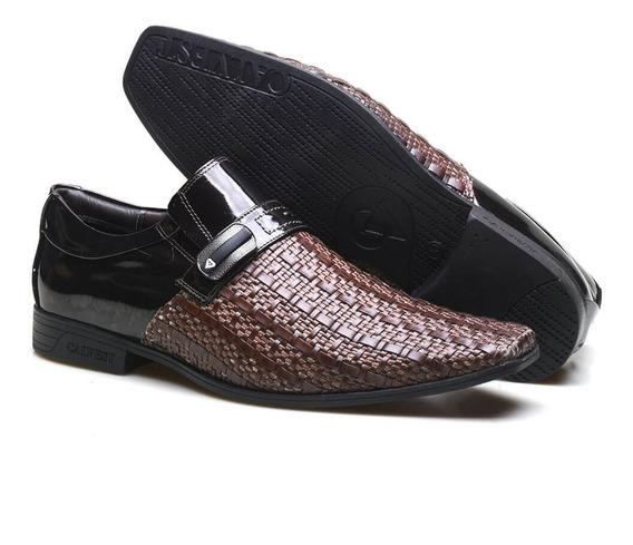 Sapato Social Em Tressê E Couro Verniz Calvest