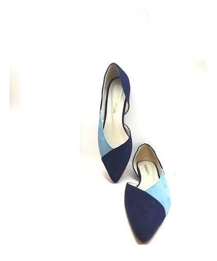 Zapato Mujer Chata Natacha Gamuza Azul Y Turquesa #129