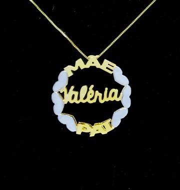 Colar Mandala 3 Nomes Coleção Corações Folheado A Ouro 18k