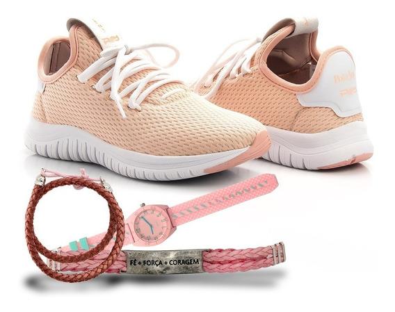 Kit Tênis Feminino Polo Joy Runner+ Pulseiras + Relógios