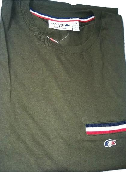 Camiseta Masculina Lacoste Serie France Bolsinho Ou 3d