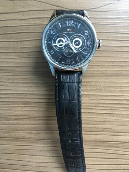 Relógio Tommy Hilfiger Preto Com Pulseira De Couro