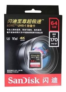 Cartão Sd Sandisk Extreme Pro 64gb Classe 10 Uhs-i 170mb/s Lacrado Original Canon Nikon Sony Vivitar