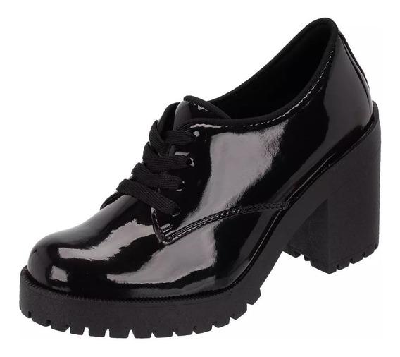 Sapato Oxford Feminino Tratorado Verniz Salto Medio
