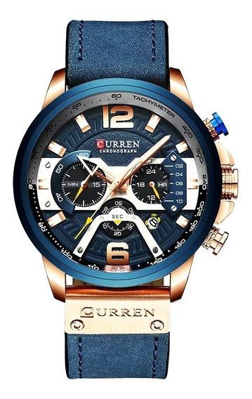 Relógio Masculino Curren 8329 Azul Lançamento Original