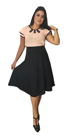 Conjunto Feminino Saia Midi + Blusa Gota Moda Evangelica