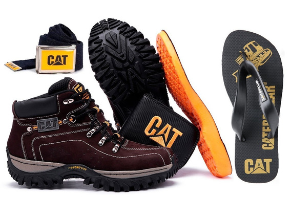 Kit Bota Adventure Caterpillar + Chinelo Carteira Cinto Palm