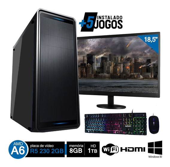 Pc Gamer Completo Amd A6 7480 8gb Hd 1tb R5 230 C/ Monitor Wifi Hdmi Win10