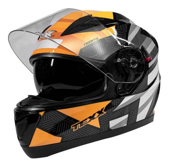 Capacete Moto Texx G2 Dupla Viseira Solar Laranja
